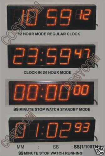 Led Stopwatch Clock 6 Digit Sports Timing Equipment